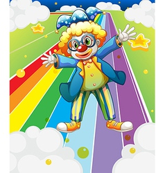 A clown at the colorful road vector