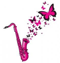Pink saxophone vector