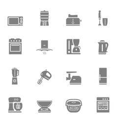 Kitchen appliances silhouette icon set vector