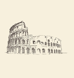 Colosseum in rome italy vintage engraved vector