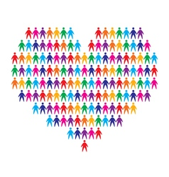 Heart with people background vector