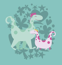 Cute dinosaurs vector