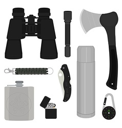 Camping items set no outline vector