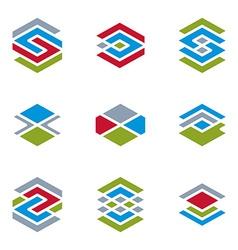 Abstract unusual symbols set creative stylish icon vector