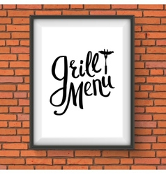 Grill restaurant menu sign hanging on brick wall vector