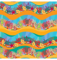 Seamless pattern with coral reef and marine life vector