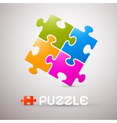 Colorful puzzle on grey background vector