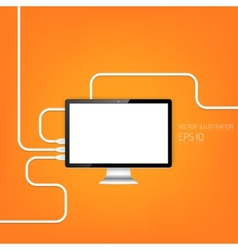 Realistic detalized flat monitor usb connection vector