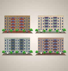 Front building with trees vector