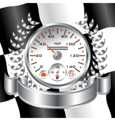 White speedometer racing shield vector