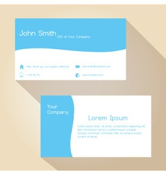 Blue and white simple business card design eps10 vector