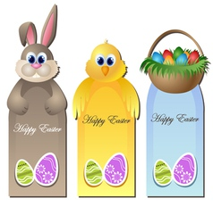 Easter greeting card set with cartoon characters vector