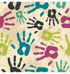 Diversity vintage hand prints pattern vector
