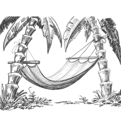 Hammock and palm trees drawing vector