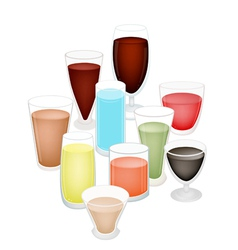 A set of refreshing drink in glass vector