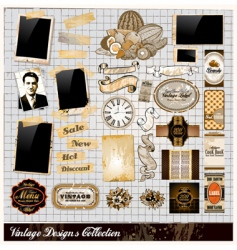 Vintage elements collection vector
