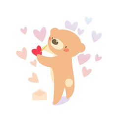 Bear writing love letter vector