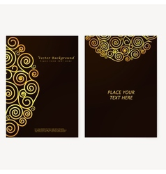 Vintage abstract flyer with golden curls vector