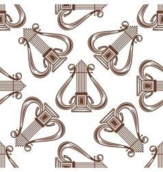 Seamless musical harp pattern vector