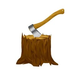 Stump with axe vector