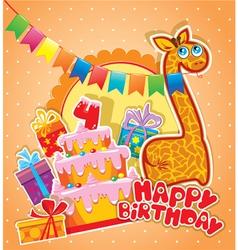Happy birthday 4year 380 vector
