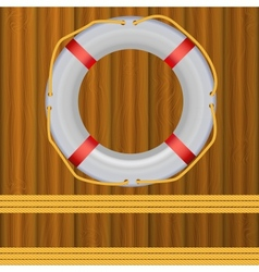 Life buoy on boards background ropes vector