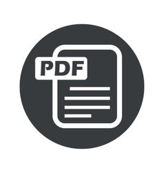 Monochrome round pdf file icon vector
