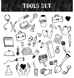 Professional tools doodles set vector