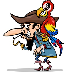 Pirate with parrot cartoon vector