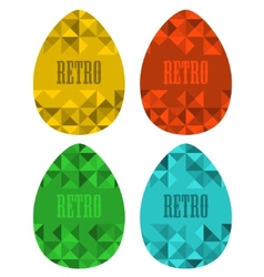 Set of retro eggs made of triangles vector