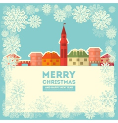 Winter little town vector