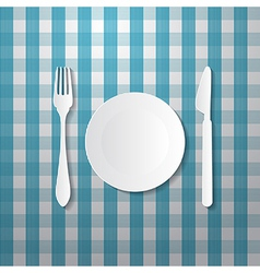 Fork plate and knife made from paper on blue vector