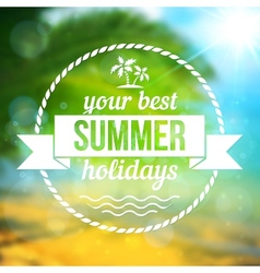 Summer tropical background with text badge vector