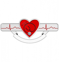 Logo heart and stethoscope vector