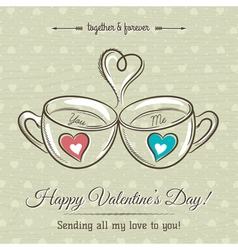 Valentine card with two cup of hot drink vector
