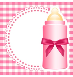 Baby bottle napkin square checkered background vector