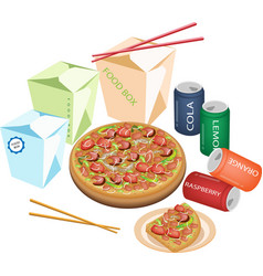 Delivery food for take away to home vector