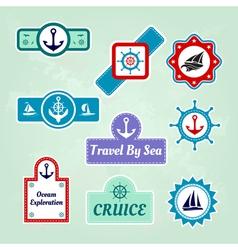 Set of sea travel company icons vector