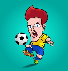 Yellow shirt play football cartoon vector