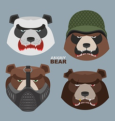 Wild angry bears set angry panda bear in a vector