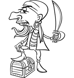 Pirate with treasure for coloring book vector