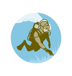 Frogman scuba diver diving vector