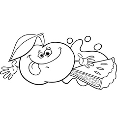 Apple and pie cartoon coloring page vector