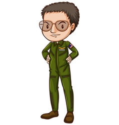 A simple pilot in green uniform vector