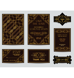 Set of wedding cards - art deco vintage style vector