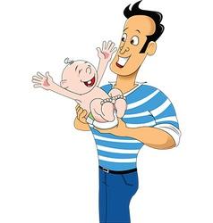 Cartoon dad with child vector