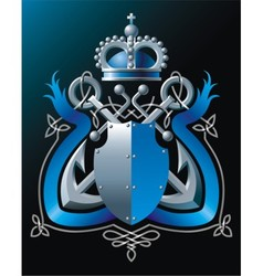 Anchors crown and blue ribbon vector