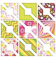 Easter set of corner design elements vector
