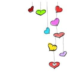 Sketch hanging hearts vector