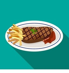 Grilled meat steak with french fries on dish vector